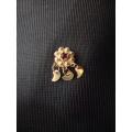 Süryani hızması 14 ayar altın el sanatı kırmızı taşlı