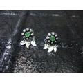 Süryani küpesi  sekiz toplu otantik  gümüş 925 ayar yeşil   taşlı