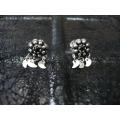 Süryani küpesi  sekiz toplu otantik  gümüş 925 ayar siyah  taşlı
