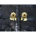 Süryani küpesi  sekiz toplu   gümüş  925 ayar  altın kaplama kırmızı  taşlı