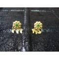 Süryani küpesi  sekiz toplu   gümüş 925 ayar altın kaplama yeşil   taşlı