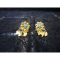 Süryani küpesi  sekiz toplu   gümüş 925 ayar altın kaplama mavi  taşlı