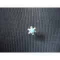 altı toplu mavi taşlı gümüş hızma delikli burun için