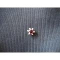 altı toplu kırmızı  taşlı gümüş hızma delikli burun için