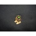 Mardin hızması altın 14 ayar el sanatı otantik yeşil taşlı