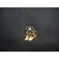 Mardin hızması altın 14 ayar el sanatı otantik mavi taşlı