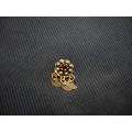 Mardin hızması altın 14 ayar el sanatı otantik kırmızı taşlı
