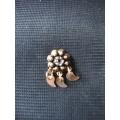 Mardin hızması altın 14 ayar el sanatı otantik kristal  taşlı